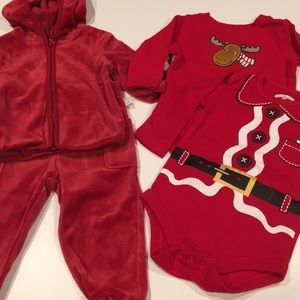 Christmas bundle for infant velour outfit and tops